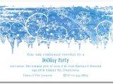 Snowflake Birthday Party Invitations Swirling Snowflakes Holiday Invitation Christmas Invitations