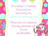 Snowflake Birthday Party Invitations Winter Snowflake Snowman Birthday Party Invitation