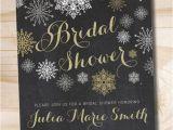Snowflake Bridal Shower Invitations Glitter Snowflake Chalkboard Bridal Shower Invitation