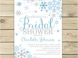 Snowflake Bridal Shower Invitations Winter Bridal Shower Invitation Printable Blue and Grey