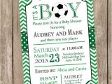 Soccer Baby Shower Invitations Chevron soccer Baby Shower Invitation soccer Green
