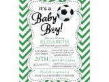 Soccer Baby Shower Invitations Modern Chevron It S A Baby Boy soccer Baby Shower 5×7