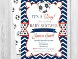 Soccer Baby Shower Invitations soccer Baby Shower Invitation Chevron Stripes Red Blue and
