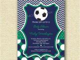 Soccer Ball Baby Shower Invitations Chevron and Polka Dot soccer Baby Shower Invitation
