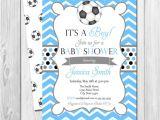 Soccer Ball Baby Shower Invitations soccer Baby Shower Invitation Chevron Stripes Blue