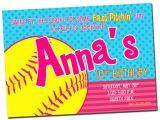 Softball Birthday Invitations Printable softball Birthday Party Invitation Digital File