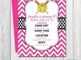 Softball Birthday Invitations softball Birthday Party Invitation Pink and Black Chevron