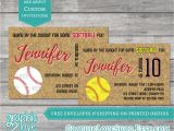 Softball Invitations Birthday Fastpitch softball Birthday Invitations Yellow or White