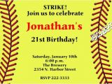 Softball Invitations Birthday softball Birthday Invitation