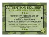 Soldier Birthday Party Invitations 3 000 Army Invitations Army Announcements Invites Zazzle