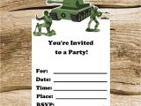 Soldier Birthday Party Invitations Army Party Set Of 8 toy soldier Invitations by the Birthday