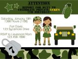 Soldier Birthday Party Invitations Army soldier Birthday Party Invitation