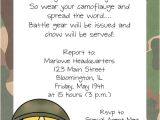 Soldier Birthday Party Invitations Armymilitary soldier Boy Birthday Party Invitations