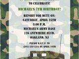 Soldier Birthday Party Invitations Camouflage Military Army Birthday Party Invitations