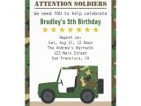 Soldier Birthday Party Invitations Military Camouflage Pattern soldier Boy Birthday 5×7 Paper