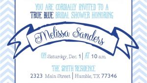 Something Blue Bridal Shower Invitations Chevron something Blue Bridal Shower Invitation Bailey