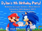Sonic Birthday Party Invitations Personalised Mario and sonic Invitations