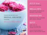 Spa Bridal Shower Invitations Pink Floating Flowers Spa Day Bridal Shower Invite Template