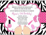 Spa Invitations for Birthday Party Zebra Pedicure Spa Birthday Party Invitations Glamour
