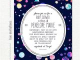 Space themed Baby Shower Invitations Space themed Baby Shower Invitation Modern Girls Baby Shower