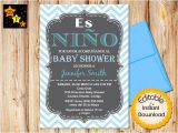 Spanish Baby Shower Invitation Spanish Baby Shower Invitation Boy Chevron Blue Editable