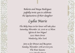 Spanish Wording for Quinceanera Invitations Invitation Wording Quinceanera English Gallery