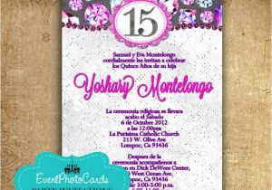 Spanish Wording for Quinceanera Invitations Purple Fuchsia Quinceanera Invitations In Spanish