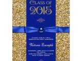 Sparkly Graduation Invitations Blue and Gold Glitter Graduation Announcements Zazzle