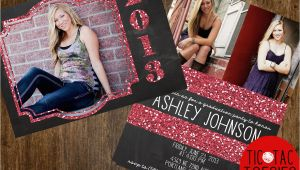 Sparkly Graduation Invitations Glitter and Chalkboard Graduation Invitation Front and Back