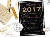 Sparkly Graduation Invitations Instant Download Graduation Invitation Black Glitter and