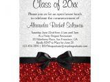 Sparkly Graduation Invitations Red Sparkle Look Bow Graduation Invitation 5 Quot X 7
