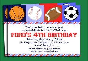 Sports Birthday Invitations Free Printable Free Printable Sport themed Birthday Invitation Card for