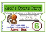 Sports Birthday Party Invitation Wording Personalized Sports Invitations Football Basketball soccer