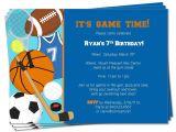 Sports Birthday Party Invitation Wording Printable Birthday Sports theme Invitation by