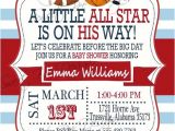 Sports themed Baby Shower Invitation Templates Baby Shower Invitation All Star Baby Shower Invitation