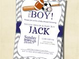 Sports themed Baby Shower Invitations for Boy Gray and Blue Chevron Sports theme Baby Shower Invitation