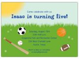 Sports themed Birthday Invitation Wording All Sports Kids Birthday Party Invitations