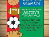 Sports themed Birthday Invitation Wording Sports Birthday Invitation Birthday Party by