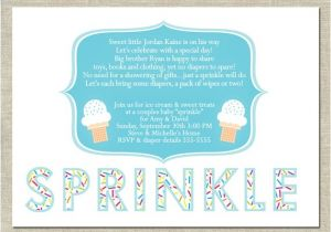Sprinkle Baby Shower Invitation Wording Baby Sprinkle Invitation Printable Ice Cream by