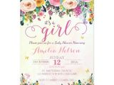 Sprinkle Birthday Party Invitations It S A Girl Floral Garden Baby Shower Invitation