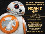 Star Wars Birthday Invitation Template 20 Bb8 Star Wars the force Awakens Birthday Party