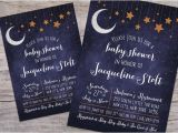 Starry Night Baby Shower Invitations Over the Moon Starry Night Baby Shower Invitation with Free
