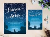 Starry Night Party Invitations Starry Night Wedding Invitation and Wishing Well Card Under