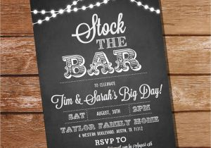 Stock Your Bar Party Invitations Chalkboard Stock the Bar Engagement Party Invitation Stock