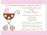 Stroller Baby Shower Invitations Stroller Fun Girl Pink Polka Dots Baby Shower Invitations