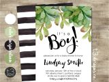 Succulent Baby Shower Invitations Boy Baby Shower Invitation Modern Baby Shower Invite