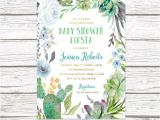 Succulent Baby Shower Invitations Fiesta Baby Shower Invitation Boy Cactus Baby Shower