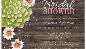 Succulent Bridal Shower Invitations Bridal Shower Invitations Rustic Succulent Floral Wood Pink