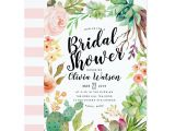 Succulent Bridal Shower Invitations Modern Cactus Succulent Floral Bridal Shower Invitation