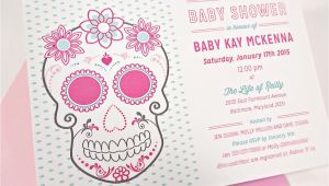 Sugar Skull Baby Shower Invitations Pink Floral Sugar Skull with Roses Baby Shower Invitation